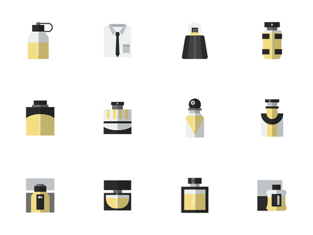 perfume atomizer: Black and yellow style perfume bottles. Mens fragrances. Luxury and body care products for male. Set of simple flat color vector icons.