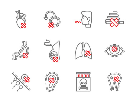 harm: Smoking addiction and harmful. Dangerous bad habits and drug abuse. Health harm theme. Set of simple gray and red line style vector icons. Illustration