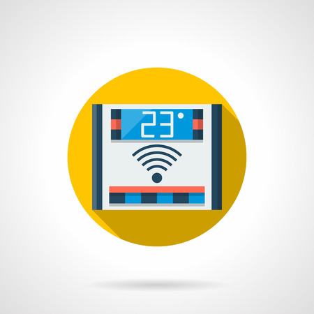 floor heating: Domestic electronic temperature regulation device. Remote control thermostat for floor heating. Colored round flat design vector icon.