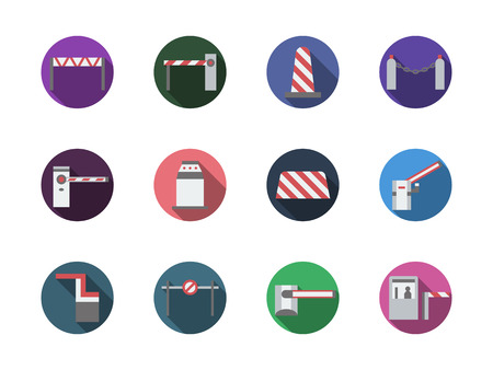 movement control: Open and closed barriers and gates. Modern equipment for entrance or traffic control. Adjustment of pedestrian and vehicles movement. Set of round flat color design vector icons. Illustration