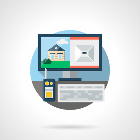 security service: Home security service. Guard workplace with surveillance equipment - radio, video from remote cctv system. Round detailed flat color style vector icon.