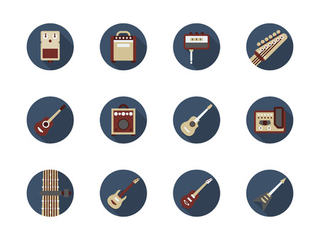 riff: Musical instruments and equipment. Symbols for store of guitar stuff. Tools and accessories for hobby or professional bands. Set of round flat color design vector icons.