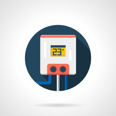 water tank: Water tank or boiler with temperature control. Heating equipment, heated floor system. Appliance for cold season. Colored round flat design vector icon. Illustration