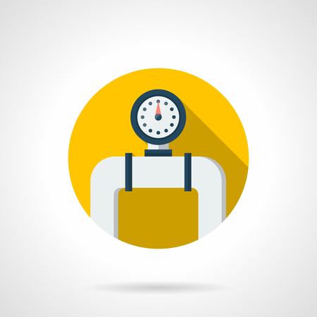 Manometer on a white pipe with flange. Water meter gauge of heating system. Household or industrial equipment. Colored round flat design vector icon.