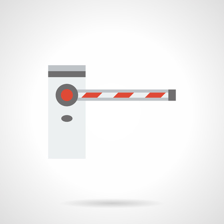 road closed: Automatic road barrier with closed striped bar. Barricades, traffic gates, stoppers and other equipment for parking, checkpoints, security sites. Flat color style vector icon.