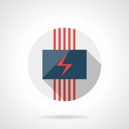 climatic: Panel with red power sign and cables. Electric heating underfloor system for house. Modern climatic technology. Gray round flat vector icon with long shadow. Illustration