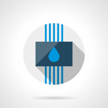 climatic: Panel with blue drop and tubes. Water under floor heating system. Modern climatic technology. Gray round flat vector icon with long shadow.