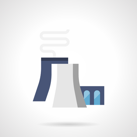 industrial complex: Chemical or petrochemical plant. Factory with blue and gray chimneys and abstract smoke. Global environment problems and industry. Flat color style vector icon.