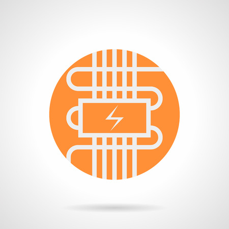 heated: Abstract white silhouette sign of electric heat-insulated floor. Home improvement with modern technology. Contemporary heating system. Orange round flat style vector icon.