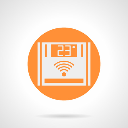 instrument panel: Abstract white silhouette sign of warm floor remote controller. Panel with 23 degree - comfortable temperature. Underfloor heating system. Orange round flat style vector icon.