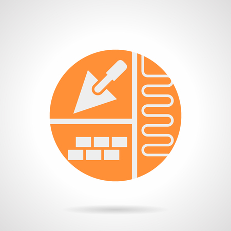 heated: Abstract white silhouette sign of improvement. House with heated flooring concept. Trowel and project for underfloor heating. Orange round flat style vector icon.
