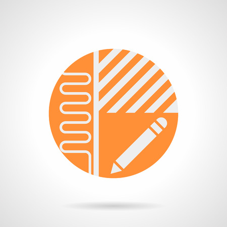 heated: Abstract white sign of heated floor project. Manual installation of underfloor heating. Apartment plan with pipeline, linoleum or laminate flooring and pencil. Orange round flat style vector icon.