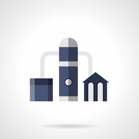 industrial complex: Gas refinery plant. Building complex with pipes, tank and tower. Industrial facilities and architecture. Flat blue style vector icon.