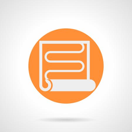 Abstrakte weiße Silhouette Zeichen der Heizwendel. Radiant Fußbodenheizung, IR-Film. Bodenbelag und Haus Verbesserung Service. Orange runden flachen Stil Vektor-Symbol.