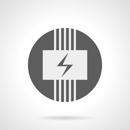 wiring: Abstract white silhouette sign of electric wiring system. Panel with power symbol and wires. Electrical under floor heating. Gray round flat style vector icon. Illustration