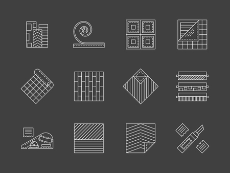 flooring: Flooring and working with linoleum. Construction and finishing materials. House renovation signs. Flat white line vector collection of icons on gray.