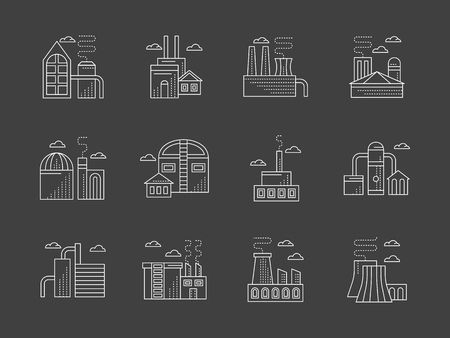 ironworks: Industrial facilities and architecture. Symbols of different factories and plants. Manufacturing, refinery, processing and other samples of industry objects. Flat white line vector icons set on gray. Illustration
