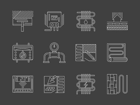 Elementi di ristrutturazione casa. Installazione di pavimento caldo, tecnologia di riscaldamento e servizi. Elettrica, l'acqua e il sistema a pavimento IR. linea piatta vettore icons collection su grigio.