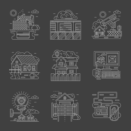 guard house: Security control system for house, commercial and industrial facilities. Modern technology for protection and guard. Set of flat white line detailed vector icons on gray background.