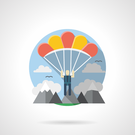 skydiver: Skydiver with red and yellow parachute. Tourism, travel, extreme sport theme. Activity leisure. Parachuting in a mountains. Round detailed flat color style vector icon. Illustration