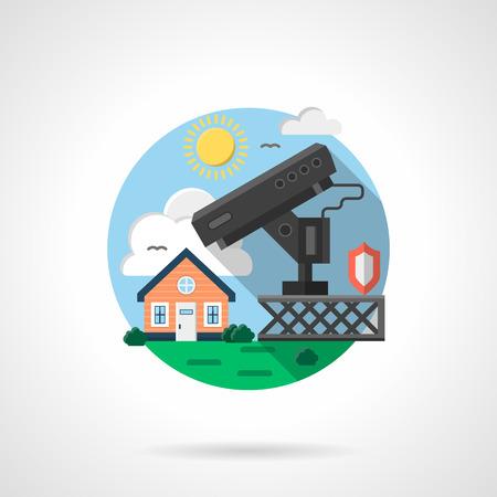 Landschaft mit sonnigen Himmel, rotes Haus unter cctv Schutz mit Schild. Home Security-System und Dienstleistungen. Round flat Farbe Stil Vektor-Symbol aufgeführt.