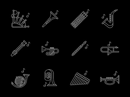 woodwind: Collection of woodwind musical instruments. Bassoon, clarinet, flute, oboe, saxophone and others. Symbols for orchestra, jazz. Flat white line vector icons set on black. Illustration