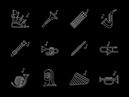 fagot: Kolekcja dętych drewnianych instrumentów muzycznych. Fagot, klarnet, flet, obój, saksofon i inne. Symbole na orkiestrę, jazzu. Flat White Line zestaw ikon wektorowych na czarnym tle.