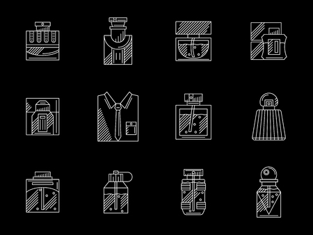 scented: Collection of bottles and vials with perfumes. Mens fragrances, scented water, lotion after shaving. White line art design. Flat vector icons set on black. Illustration