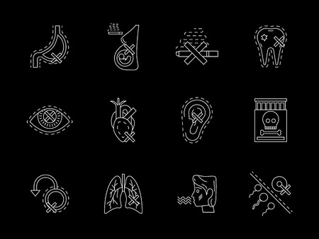 harmful: Harmful of smoking concept. Symbols of cigarette danger and hazards for human health and life. Flat white line vector icons collection on black.