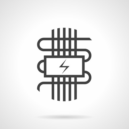 Symbol of electric warm floor - panel with power sign and wires. Technology for house heating system. Construction and improvements services. Monochrome black flat design vector icon.