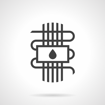 Symbol of hydronic or water warm floor - panel with drop sign and pipeline. Technology for house heating system. Construction and improvements services. Monochrome black flat design vector icon. Illustration