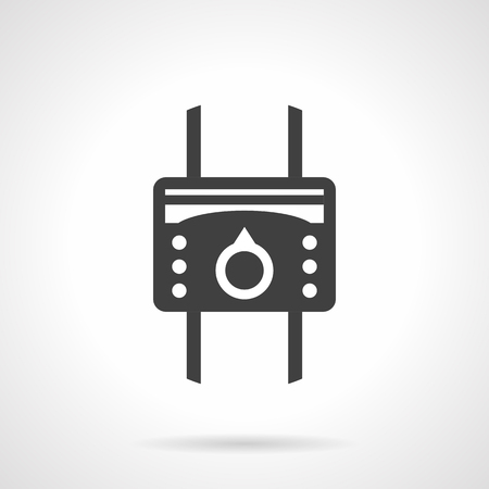 temperature controller: System of heating with heat regulator device. Temperature controller with round switch and buttons. Heated floor equipment. Monochrome black flat design vector icon.