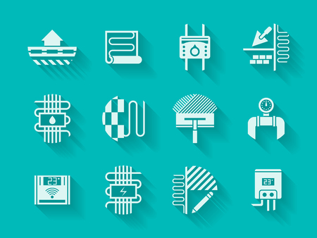 White silhouette signs of house heating. Water boiler, underfloor pipeline, temperature control equipment, flooring project and other symbols. Monochrome modern vector icons set on blue background. Vector Illustration