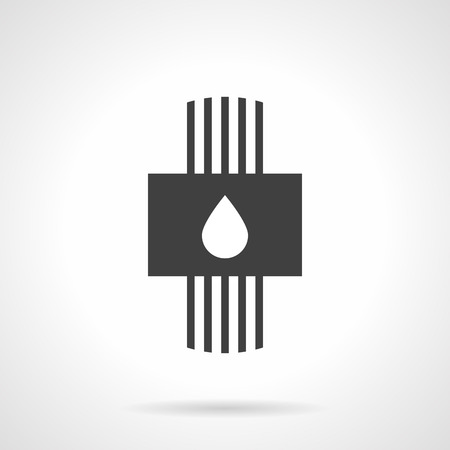 Plumbing and water system symbol. Hydronic heated floor model. Pipes and panel with drop sign. Monochrome black flat design vector icon. Ilustração