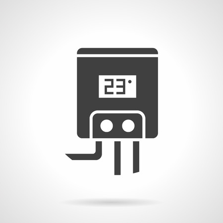 gas appliances: Gas or electric water boiler for home heating. Climatic appliances and equipment. Element of heated floor system. Monochrome black flat design vector icon. Illustration
