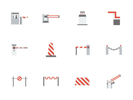 Different types of road barrier. Equipment for checkpoints, parking, commercial or industrial facilities, railroad crossing or construction sites. Set of flat color style vector icons. Illustration