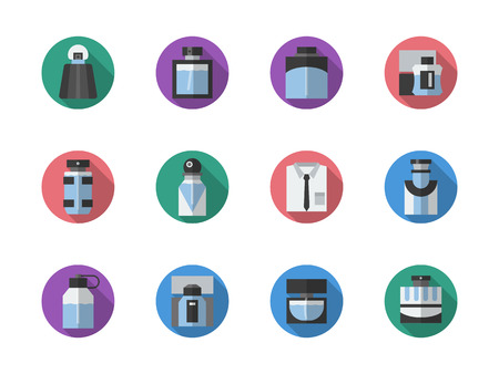 Diversa forma e il design di bottiglie di profumo. Profumeria e prodotti di bellezza. fragranze maschili e femminili. Rotonda stile di colore icone vettoriali collezione piatta.