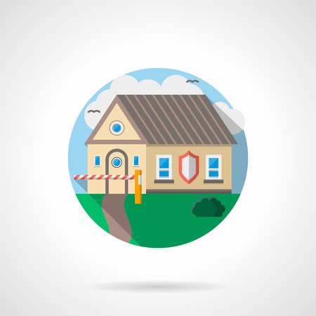 residential zone: Security concept. Protect services for home, private facilities. House under protection. Round detailed flat color style vector icon.