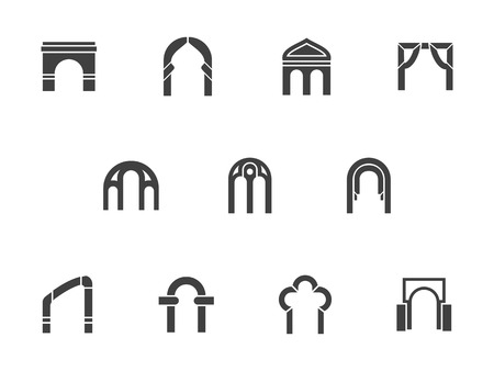 construction frame: Silhouette of common shapes and types of arches. Architectural elements. Ornament gate, doorway and construction frame. Set of symbolic black monochrome design vector icons. Illustration