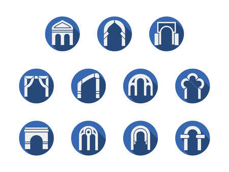 arched: White silhouette of different types of arched gateways. Architecture arch, entrance design, classical construction. Round blue flat style vector icons collection.