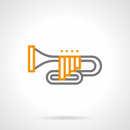 Abstract sign of trumpet. Brass wind musical instrument alto-soprano register, the highest among a sounding. Simple gray and yellow line style vector icon.