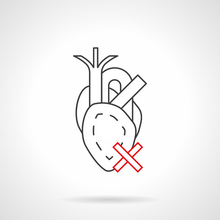 Abstract symbol of heart with crossed sign. Cardiovascular disease caused with smoking and other bad habits. Black and red flat line vector icon. Illustration