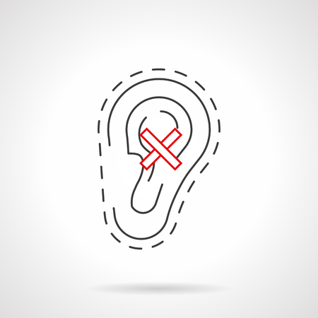 deafness: Ear with crossed sign - hearing loss symbol. Human anacusis and deafness caused with smoking and other bad habits. Black and red flat line vector icon. Illustration