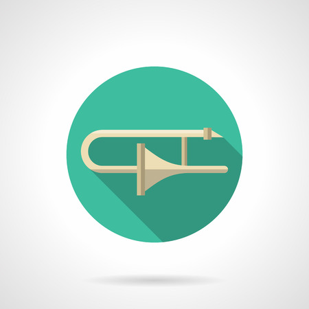 brass wind: Classical trombone a side view. Brass wind musical instruments. Symphonic, orchestra, jazz big band music. Round flat color design vector icon. Illustration
