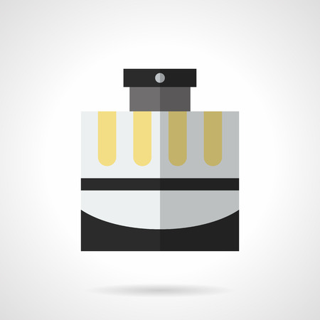 perfumery: Cosmetic and perfumery products for men. Male cologne in elegant gray bottle with black and yellow elements. Flat color style vector icon. Illustration