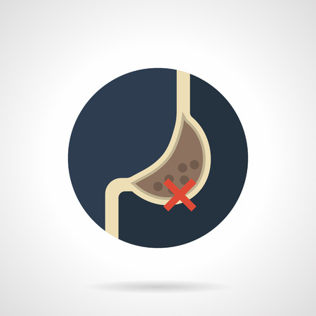 chronic gastritis: Consequences of bad habits for human organism. Harmful of smoking, alcohol or fast food for stomach. Round flat color design vector icon. Illustration