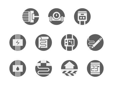 Signes de silhouette blanche du système de chauffage par le sol. Distribution efficace de l'énergie de chauffage. Technologie climatique pour la maison. Les icônes vectorielles plates et grises de conception moderne sont définies.