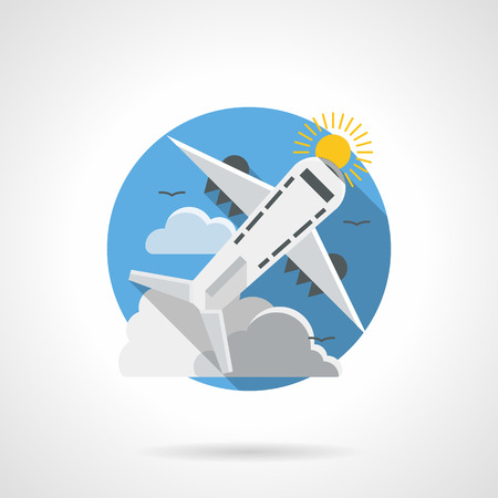 jetliner: Abstract illustration of air traffic. Mode of transportation. Jet airliner, passenger airplane freight. Round detailed flat color style vector icon. Illustration