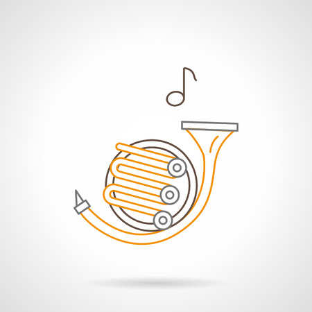 melodic: French horn and one music note. Orchestra melody symbol. Brass musical instrument tenor register. Black and yellow flat line vector icon.