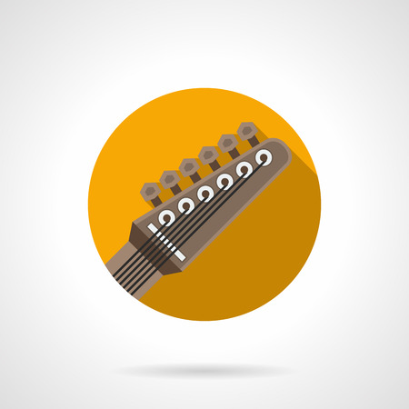 headstock: Guitar headstock with six pegs and strings. Rock music symbol. Part of musical instruments, equipment for bands, studio. Round flat color design vector icon.